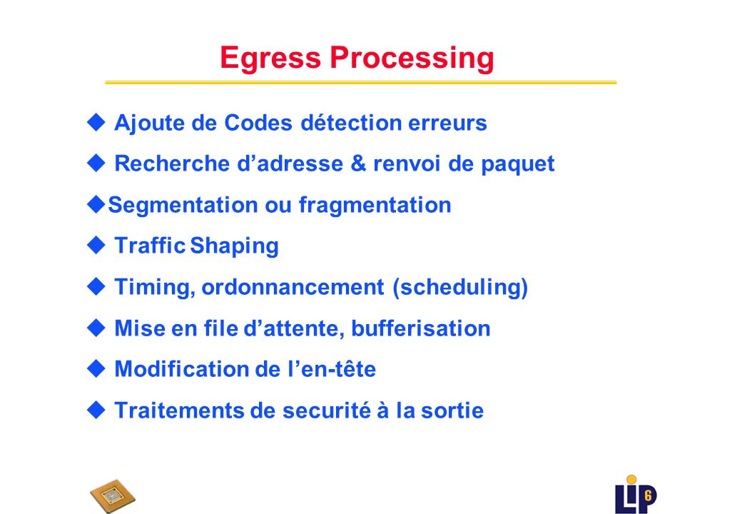 Ingress Processing u Sécurité & détection derreurs u Classification ou démultiplexage u Mesure & régulation du trafic u Recherche dadresse & renvoi de paquet u Modification den-tête & transport splicing u Réassemblage ou fin de flux (e.g.