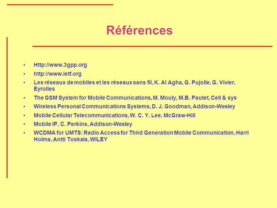 Références Http://www.3gpp.org http://www.ietf.org Les réseaux de mobiles et les réseaux sans fil, K. Al Agha, G. Pujolle, G. Vivier, Eyrolles The GSM