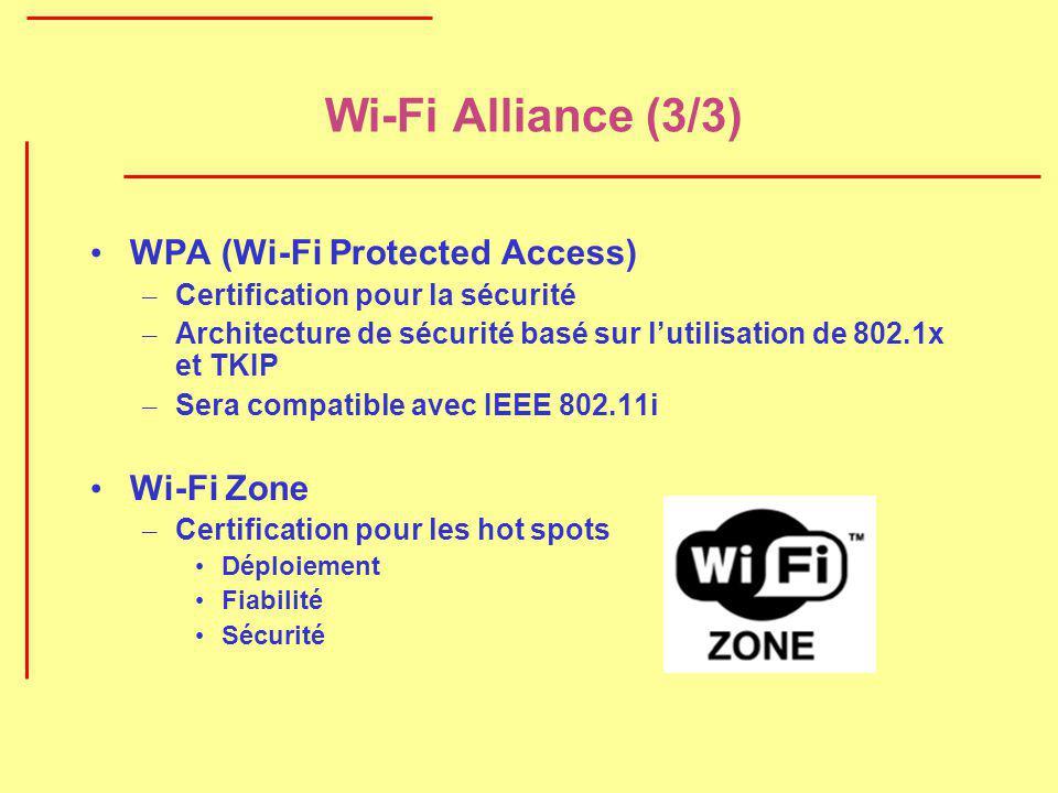 Wi-Fi Alliance (3/3) WPA (Wi-Fi Protected Access) – Certification pour la sécurité – Architecture de sécurité basé sur lutilisation de 802.1x et TKIP