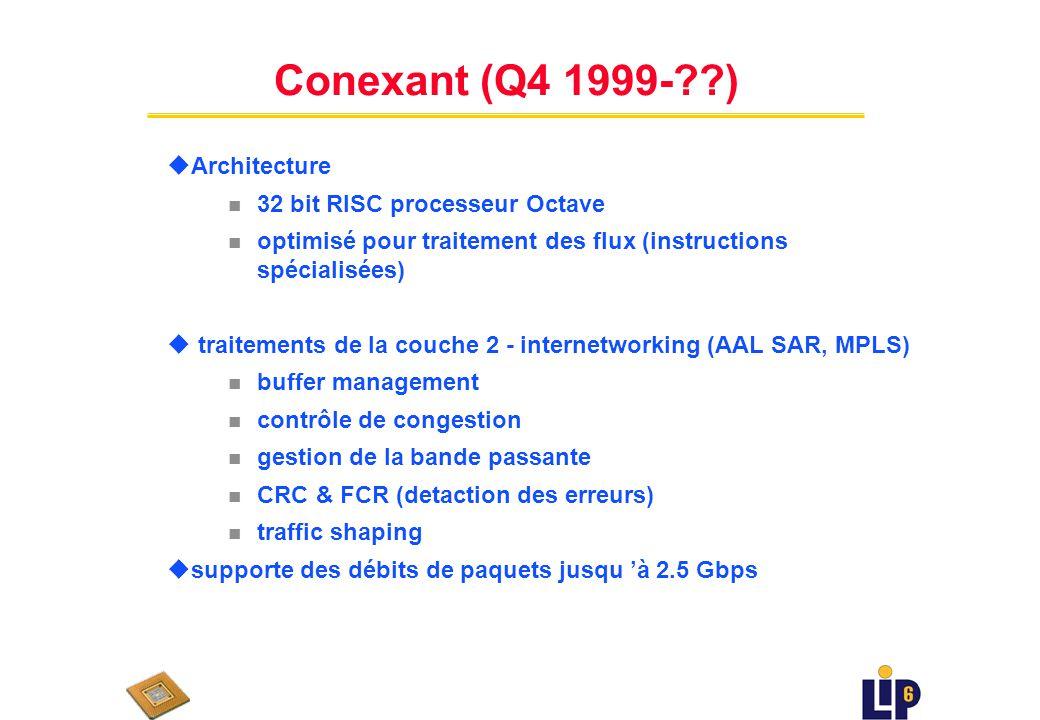 Cognigine RCU u modèle de multiprocessur distribué u 16 Processing Elements (Reconfigurable Communication Units RCU) n quatre unités parallèles n pipe