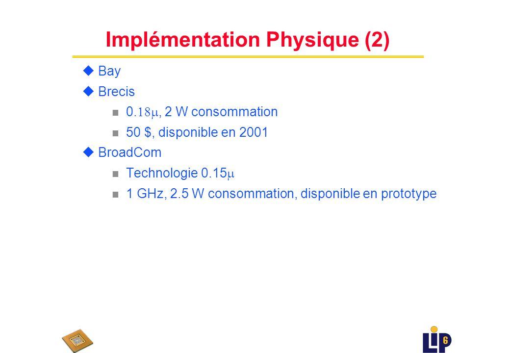 Implémentation Physique u Agere technologie 0.18, consommation 12W n disponible, coût environ 750$ u Alchemy n soft core 266 MHz, 400 MHz, 500 MHz n c