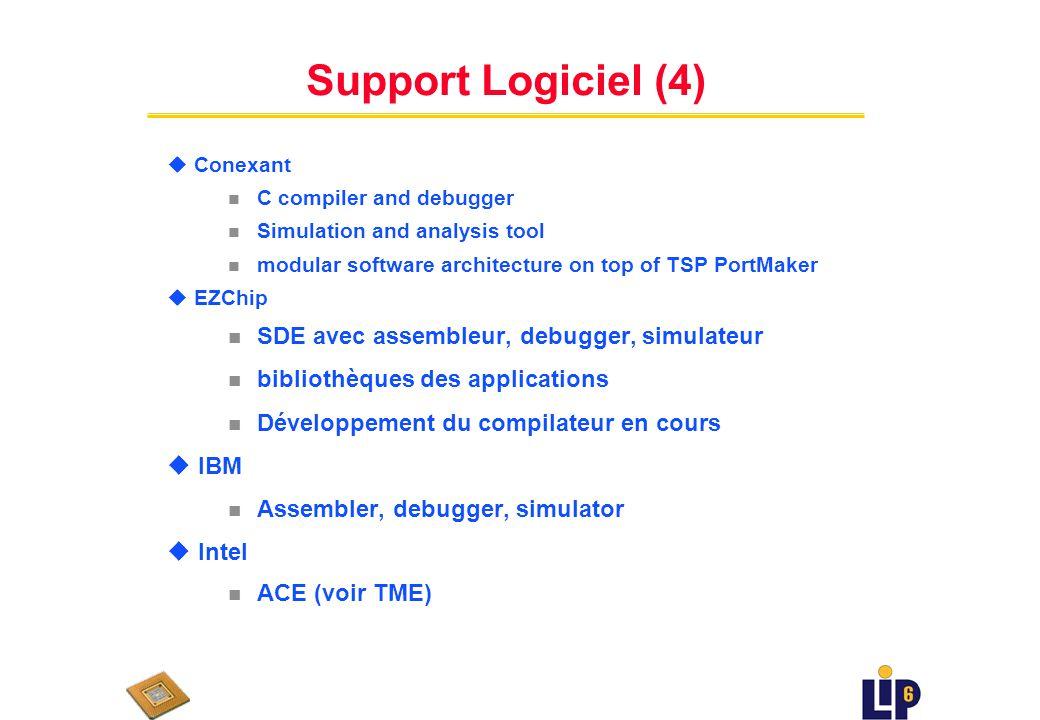 Support Logiciel (3) u ClearSpeed n alpha release SDE, compilateur C, assembler, debugger, profiler n outil visuel pour conception des applications n bibliothèque des fonctionnalités habituelles processing réséau u Clearwater n Compilateur en cours de développement u Cognigine n C/C++ Compiler, assembler, debugger n determination instructions VISC de C/C++ application n application level configuration tool (similaire Click??) n bibliothèque des fonctionnalités couche 2-7