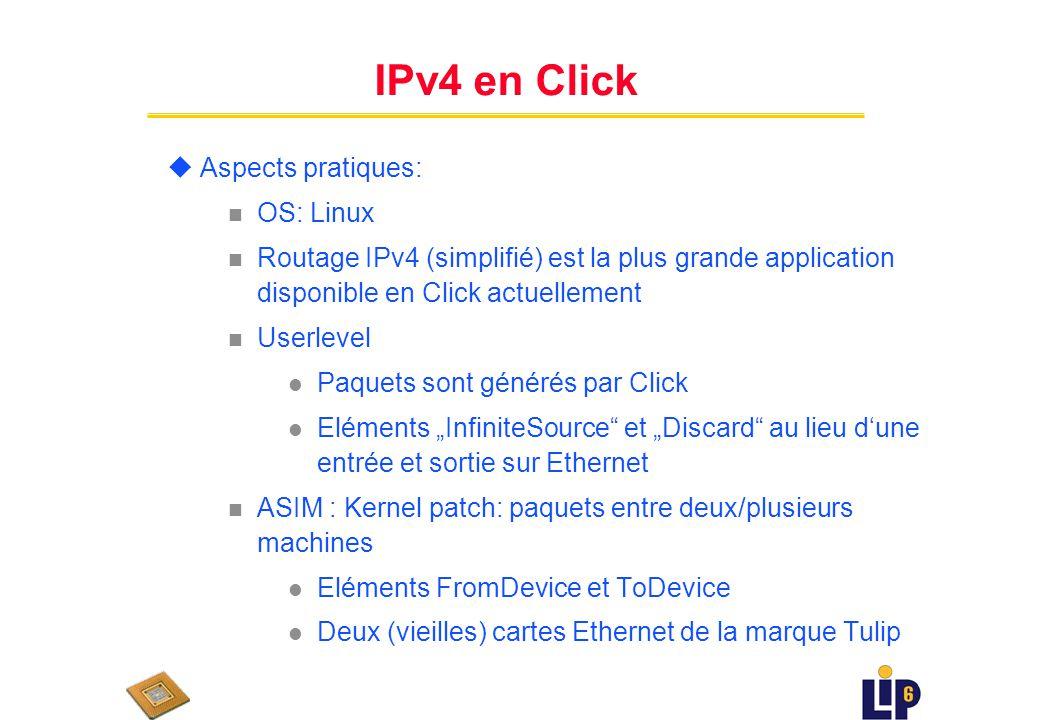 Algorithme de Routage IPv4 uEnlever un paquet de la file de sortie uVérifier si il sagit version 4 ou 6 uVérifier laddresse destination uVérifier checksum n Stocker champ checksum et effacer n En-tete prise comme serie des entiers 16 bit n Calculer complement-1 du complement-1 de la somme de ces entiers n Comparer a la checksum uLookup route: n chercher laddresse destination dans table de routage n Recupérer laddresse IP du hop prochain uMise à jour temps de survie (time-to-live TTL) : decrémenter champ TTL et modifier champ checksum uInsérer paquet dans une des files de sortie