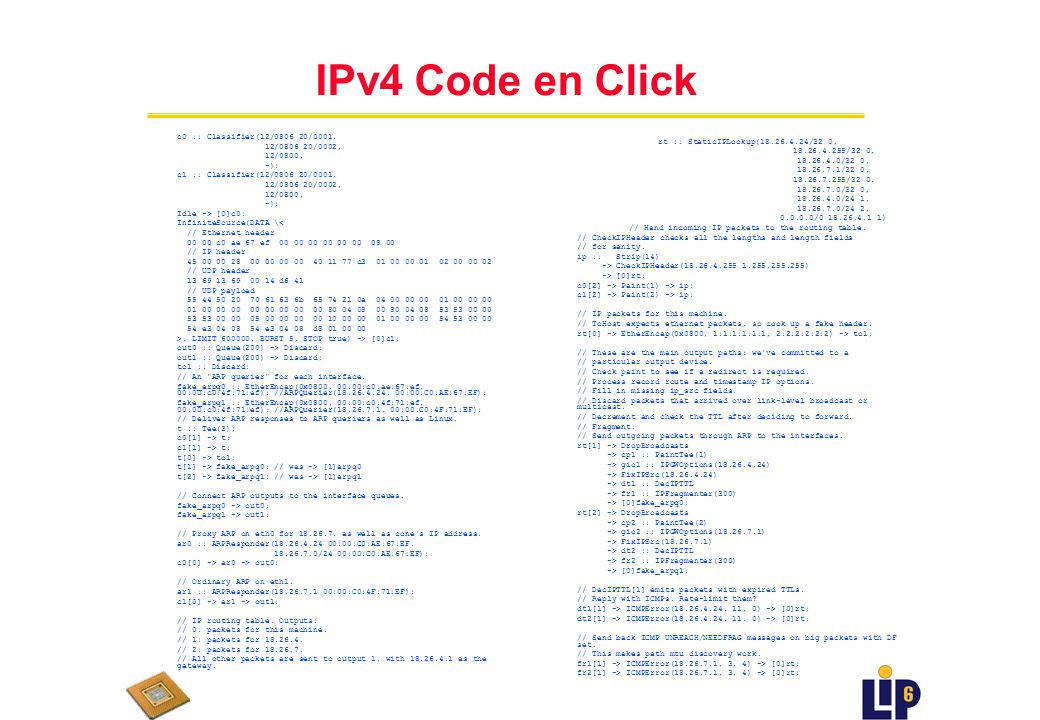 IPv4 en Click u Aspects pratiques: n OS: Linux n Routage IPv4 (simplifié) est la plus grande application disponible en Click actuellement n Userlevel