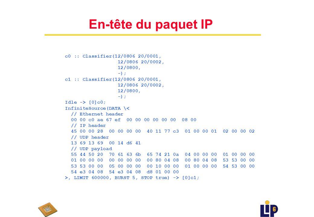 IPv4 Code en Click c0 :: Classifier(12/0806 20/0001, 12/0806 20/0002, 12/0800, -); c1 :: Classifier(12/0806 20/0001, 12/0806 20/0002, 12/0800, -); Idle -> [0]c0; InfiniteSource(DATA \< // Ethernet header 00 00 c0 ae 67 ef 00 00 00 00 00 00 08 00 // IP header 45 00 00 28 00 00 00 00 40 11 77 c3 01 00 00 01 02 00 00 02 // UDP header 13 69 13 69 00 14 d6 41 // UDP payload 55 44 50 20 70 61 63 6b 65 74 21 0a 04 00 00 00 01 00 00 00 01 00 00 00 00 00 00 00 00 80 04 08 00 80 04 08 53 53 00 00 53 53 00 00 05 00 00 00 00 10 00 00 01 00 00 00 54 53 00 00 54 e3 04 08 54 e3 04 08 d8 01 00 00 >, LIMIT 600000, BURST 5, STOP true) -> [0]c1; out0 :: Queue(200) -> Discard; out1 :: Queue(200) -> Discard; tol :: Discard; // An ARP querier for each interface.