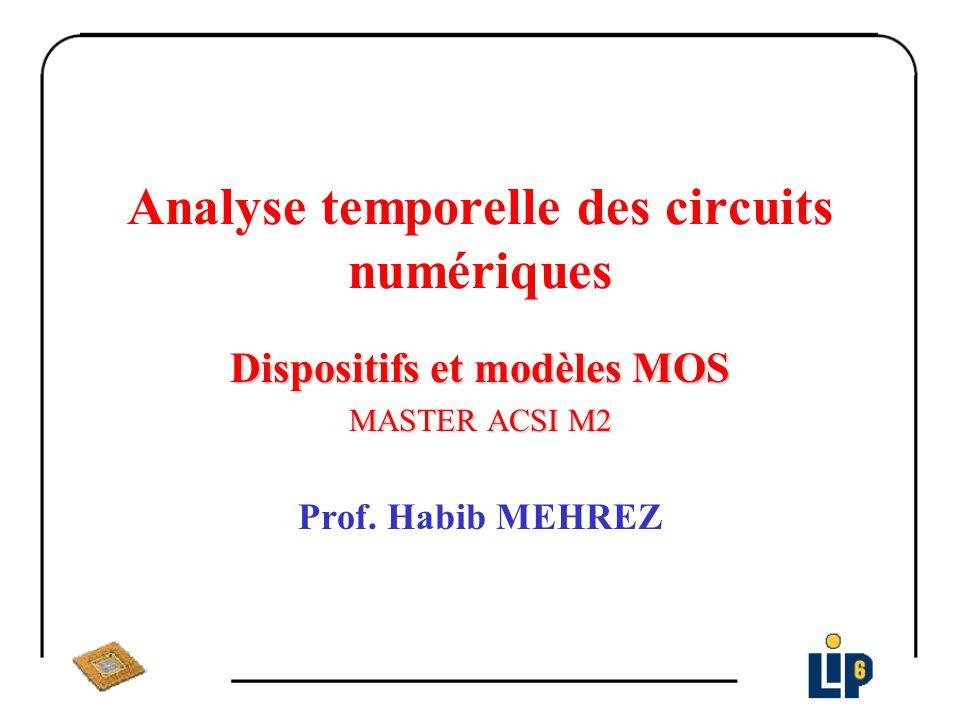 Modèle simplifié d un transistor NMOS θ = 0 λ = 0 V TN = V TN0 Région bloqué: V GS I DS = 0 Région saturé: 0 < V GS – V TN < V DS I DS = K n (V GS – V TN ) 2 Région ohmique ou linéaire: 0 < V DS < V GS – V TN I DS = K n [2(V GS – V TN )V DS – V DS 2 ]