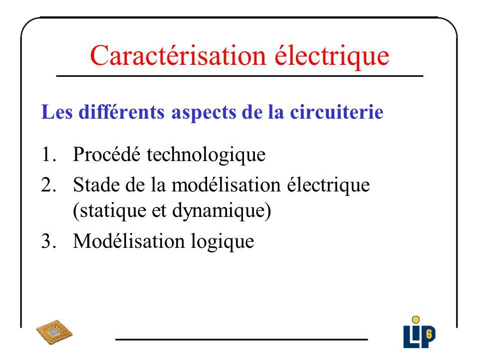 Caractérisation électrique Les différents aspects de la circuiterie 1.Procédé technologique 2.Stade de la modélisation électrique (statique et dynamiq
