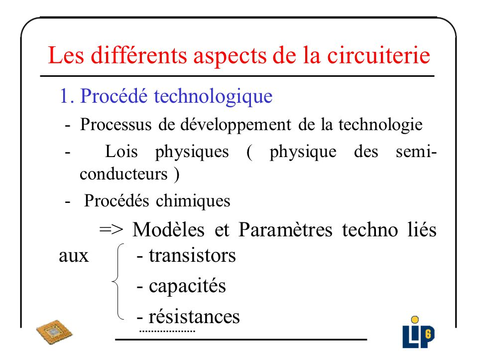 Les différents aspects de la circuiterie 1. Procédé technologique - Processus de développement de la technologie - Lois physiques ( physique des semi-