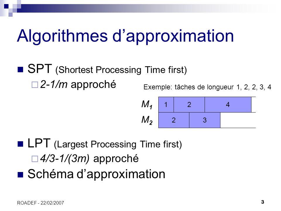 3 ROADEF - 22/02/2007 Algorithmes dapproximation SPT (Shortest Processing Time first) 2-1/m approché LPT (Largest Processing Time first) 4/3-1/(3m) ap
