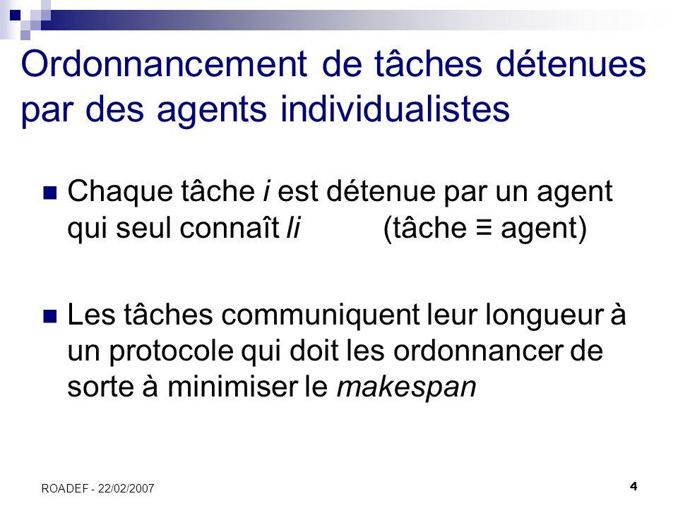 4 ROADEF - 22/02/2007 Ordonnancement de tâches détenues par des agents individualistes Chaque tâche i est détenue par un agent qui seul connaît li (tâ