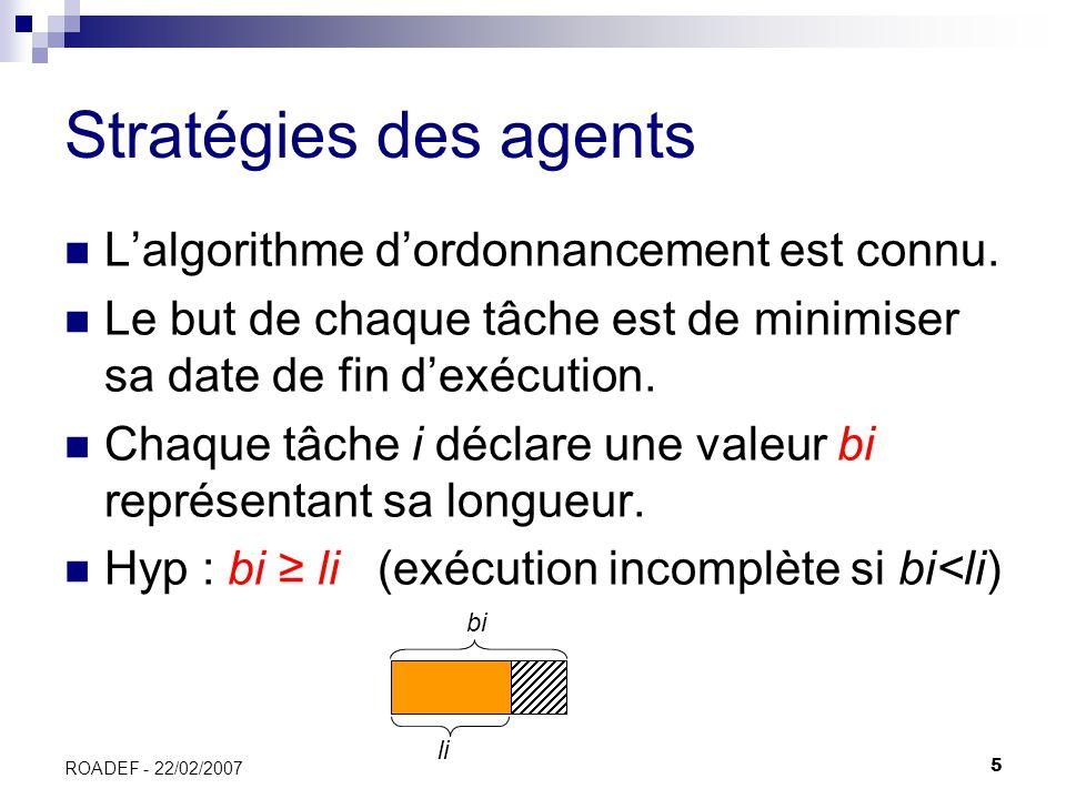 5 ROADEF - 22/02/2007 Stratégies des agents Lalgorithme dordonnancement est connu. Le but de chaque tâche est de minimiser sa date de fin dexécution.