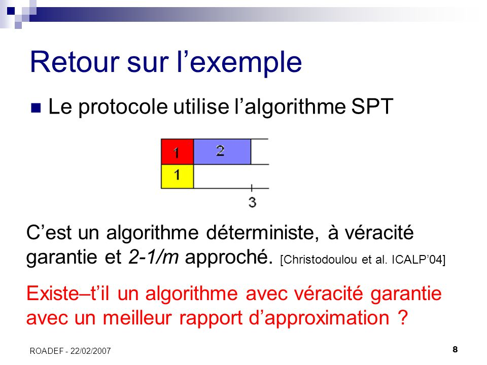 29 ROADEF - 22/02/2007 Modèle souple, algorithme déterministe, borne inférieure (1) Hyp : algorithme à véracité garantie de rapport dapproximation 11/10 – ε 2 machines et 5 tâches de longueurs {5,4,3,3,3}