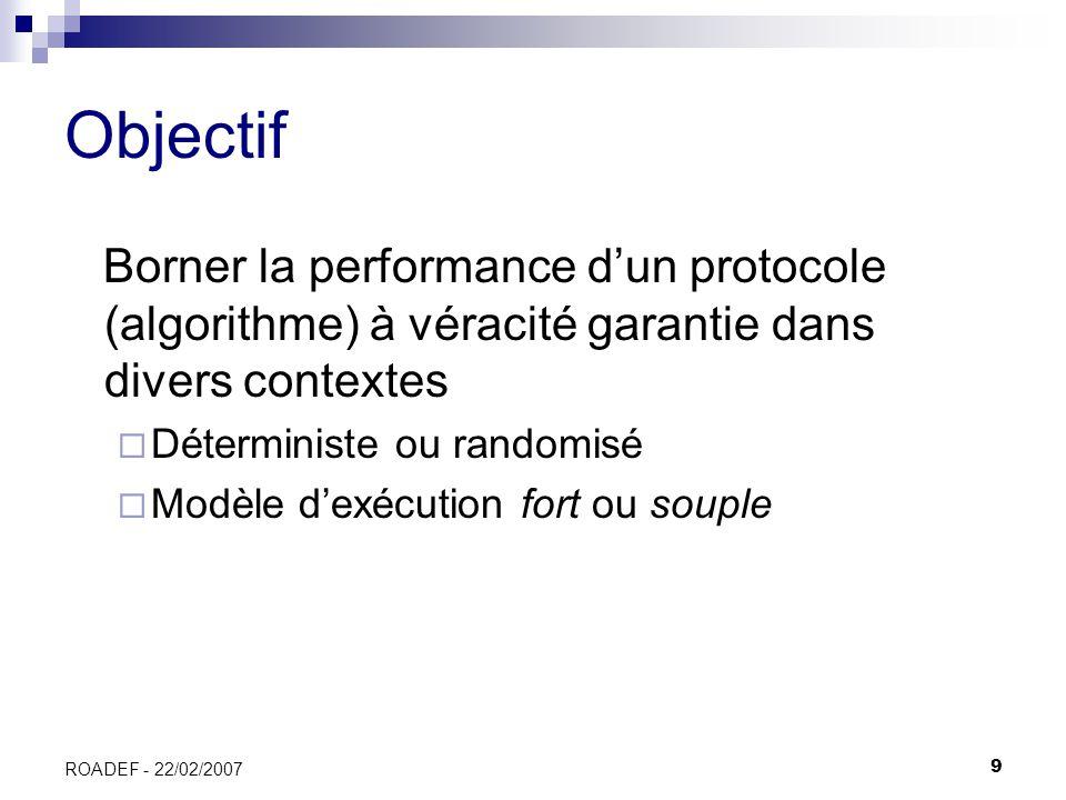 9 ROADEF - 22/02/2007 Objectif Borner la performance dun protocole (algorithme) à véracité garantie dans divers contextes Déterministe ou randomisé Mo