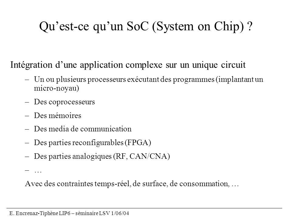 E.Encrenaz-Tiphène LIP6 – séminaire LSV 1/06/04 Quest-ce quun SoC (System on Chip) .