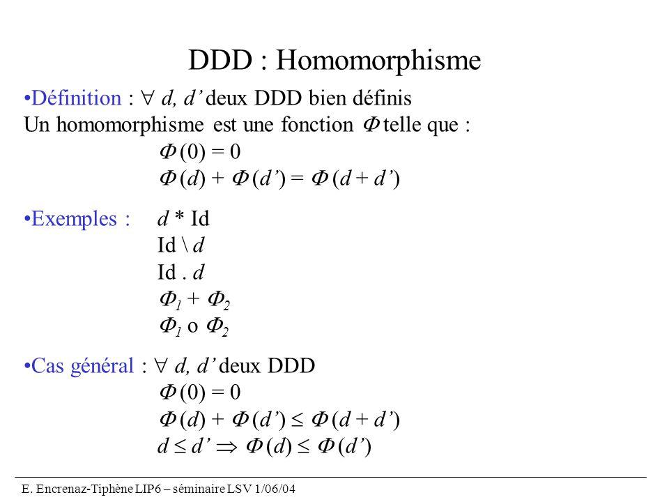 E. Encrenaz-Tiphène LIP6 – séminaire LSV 1/06/04 DDD : Homomorphisme Définition : d, d deux DDD bien définis Un homomorphisme est une fonction telle q