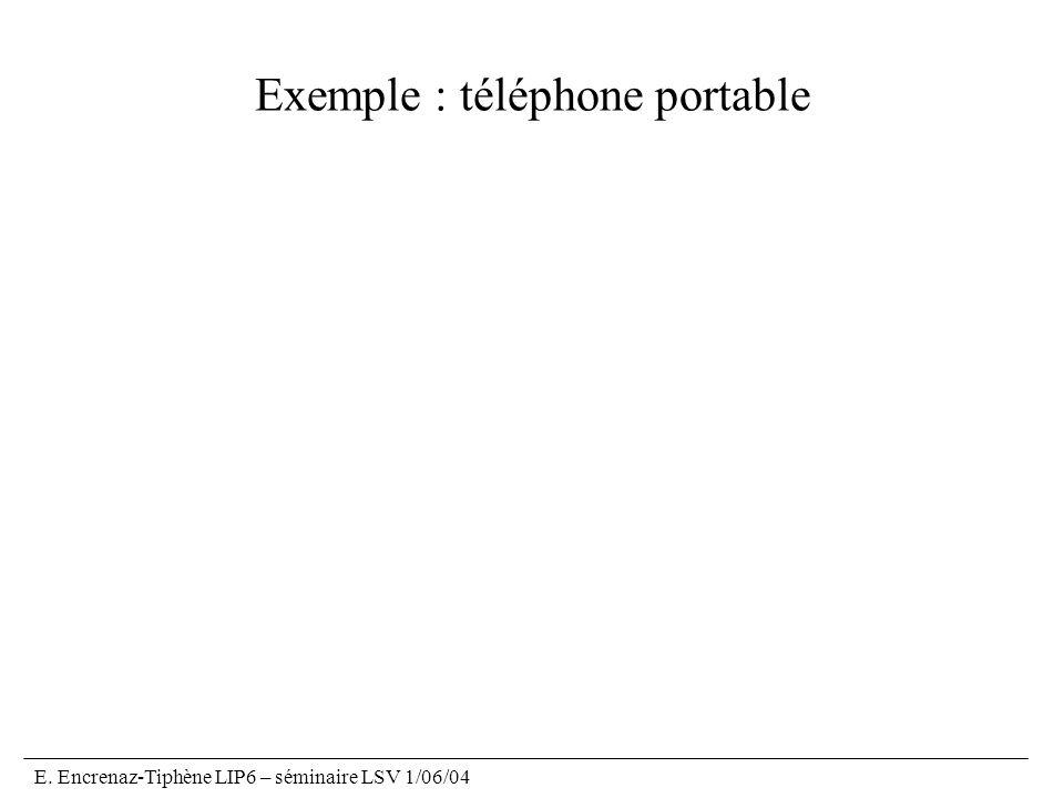 E. Encrenaz-Tiphène LIP6 – séminaire LSV 1/06/04 Exemple : téléphone portable
