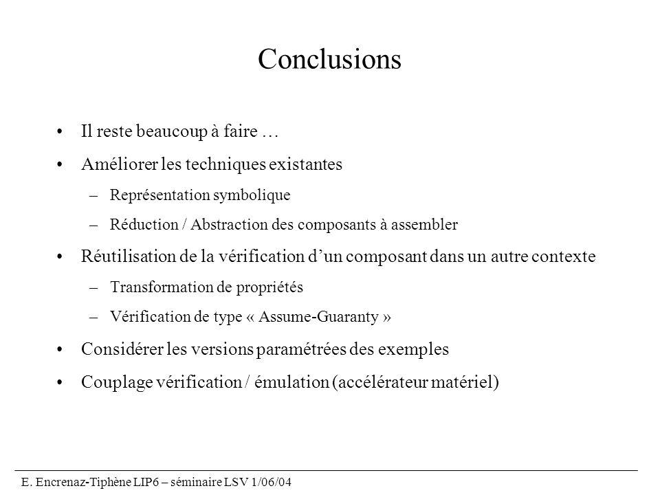 E. Encrenaz-Tiphène LIP6 – séminaire LSV 1/06/04 Conclusions Il reste beaucoup à faire … Améliorer les techniques existantes –Représentation symboliqu