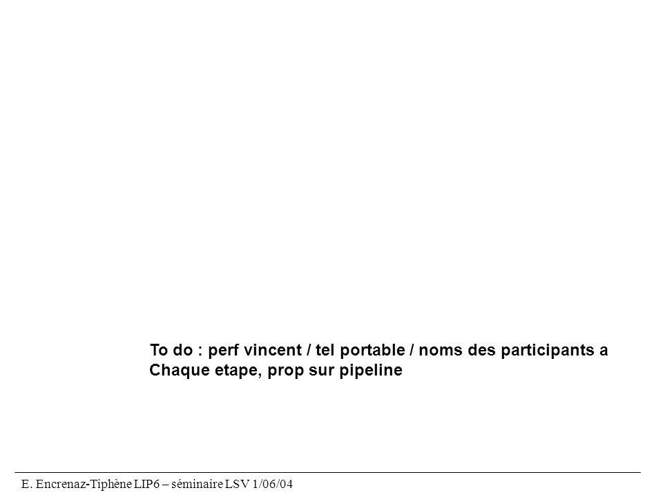 E. Encrenaz-Tiphène LIP6 – séminaire LSV 1/06/04 To do : perf vincent / tel portable / noms des participants a Chaque etape, prop sur pipeline