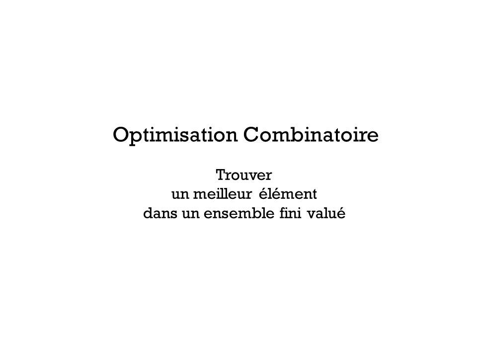 Trouver un meilleur élément dans un ensemble fini valué Optimisation Combinatoire