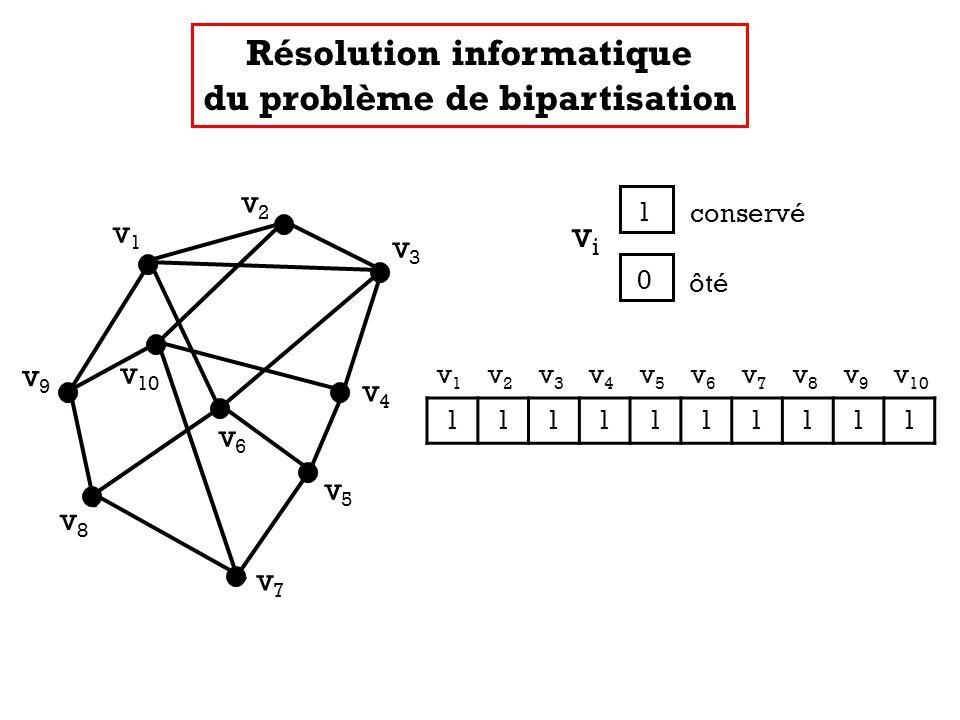 v1v1 v2v2 v3v3 v4v4 v5v5 v7v7 v8v8 v9v9 v 10 v6v6 v 1 v 2 v 3 v 4 v 5 v 6 v 7 v 8 v 9 v 10 1111111111 Résolution informatique du problème de bipartisa