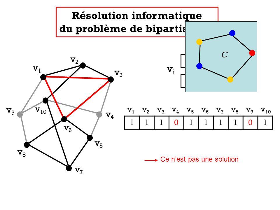 v1v1 v2v2 v3v3 v4v4 v5v5 v7v7 v8v8 v9v9 v 10 v6v6 v 1 v 2 v 3 v 4 v 5 v 6 v 7 v 8 v 9 v 10 1110111101 Résolution informatique du problème de bipartisa