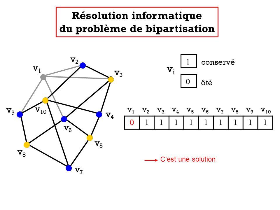 v1v1 v2v2 v3v3 v4v4 v5v5 v7v7 v8v8 v9v9 v 10 v6v6 v 1 v 2 v 3 v 4 v 5 v 6 v 7 v 8 v 9 v 10 0111111111 Résolution informatique du problème de bipartisa