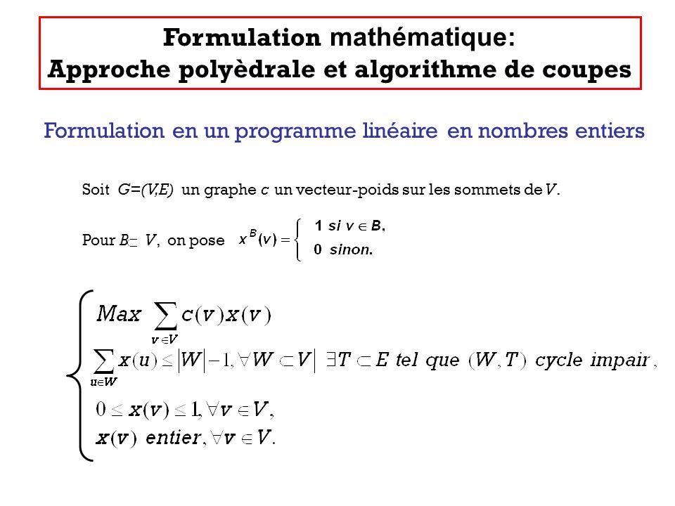 Soit G=(V,E) un graphe c un vecteur-poids sur les sommets de V. Pour B V, on pose Formulation en un programme linéaire en nombres entiers Formulation