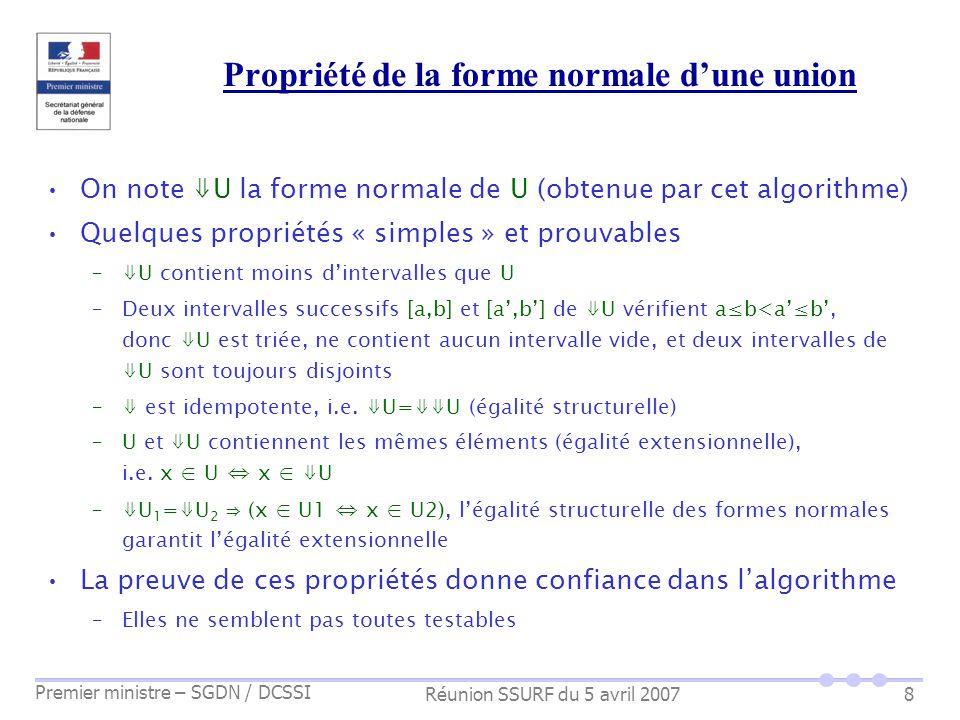Réunion SSURF du 5 avril 2007 Premier ministre – SGDN / DCSSI 8 Propriété de la forme normale dune union On note U la forme normale de U (obtenue par