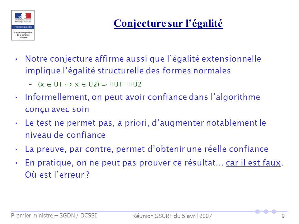 Réunion SSURF du 5 avril 2007 Premier ministre – SGDN / DCSSI 9 Conjecture sur légalité Notre conjecture affirme aussi que légalité extensionnelle imp