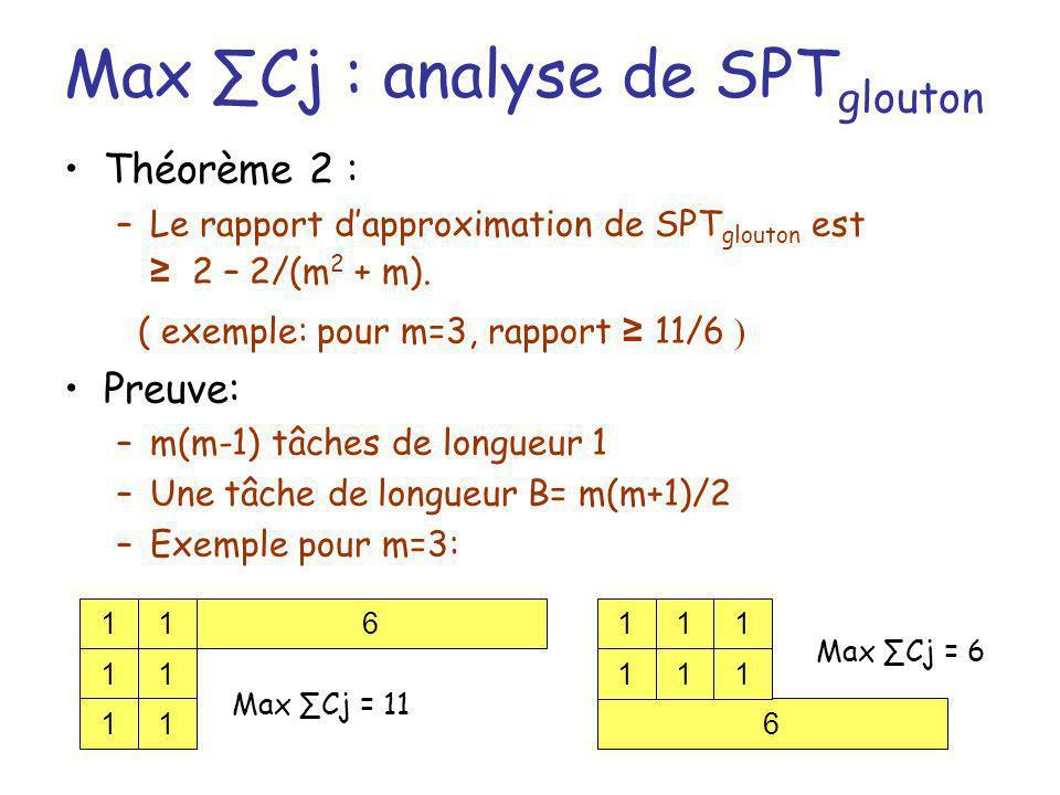 Max Cj : analyse de SPT glouton Théorème 2 : –Le rapport dapproximation de SPT glouton est 2 – 2/(m 2 + m). ( exemple: pour m=3, rapport 11/6 ) Preuve