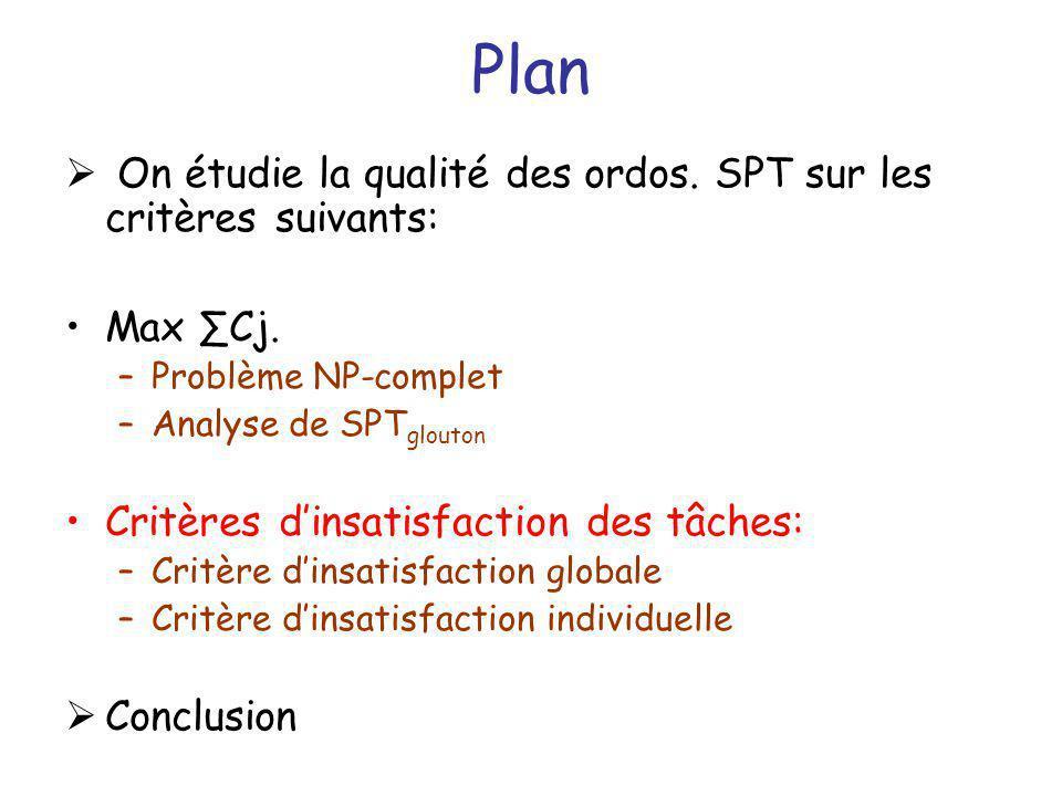 On étudie la qualité des ordos. SPT sur les critères suivants: Max Cj. –Problème NP-complet –Analyse de SPT glouton Critères dinsatisfaction des tâche