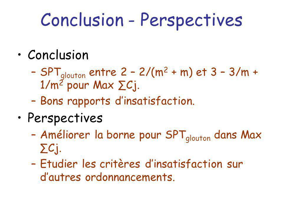 Conclusion - Perspectives Conclusion –SPT glouton entre 2 – 2/(m 2 + m) et 3 – 3/m + 1/m 2 pour Max Cj. –Bons rapports dinsatisfaction. Perspectives –