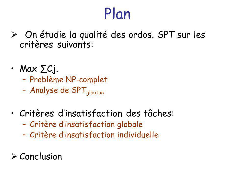 Plan On étudie la qualité des ordos. SPT sur les critères suivants: Max Cj. –Problème NP-complet –Analyse de SPT glouton Critères dinsatisfaction des