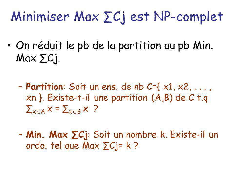 Minimiser Max Cj est NP-complet Transformation: –Partition: C={x1, x2,...,xn} –Max Cj: k= ½ Min Cj ; m=2; 2n tâches: