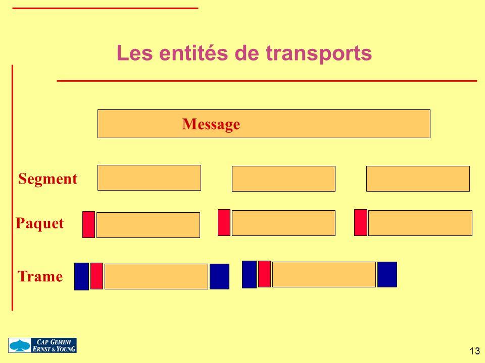 13 Message Paquet Trame Les entités de transports Segment
