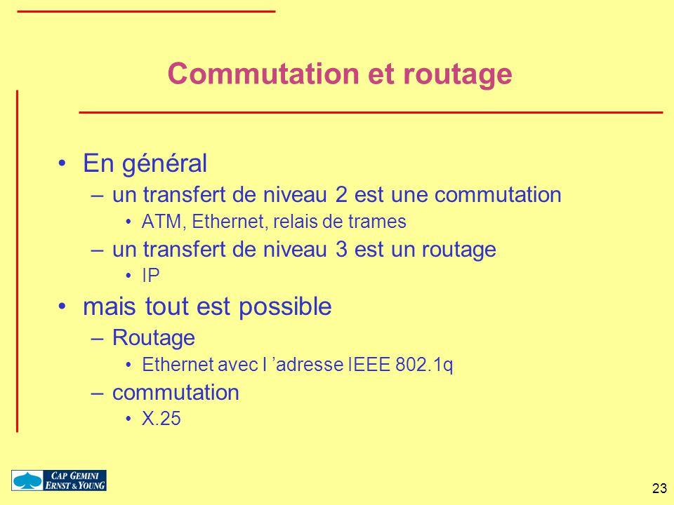 23 Commutation et routage En général –un transfert de niveau 2 est une commutation ATM, Ethernet, relais de trames –un transfert de niveau 3 est un ro