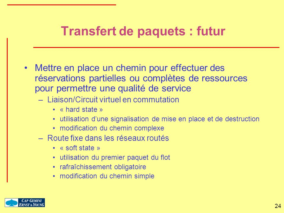 24 Transfert de paquets : futur Mettre en place un chemin pour effectuer des réservations partielles ou complètes de ressources pour permettre une qua
