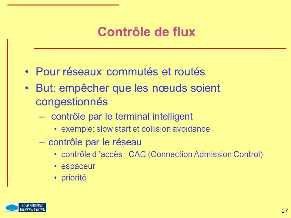 27 Contrôle de flux Pour réseaux commutés et routés But: empêcher que les nœuds soient congestionnés – contrôle par le terminal intelligent exemple: s