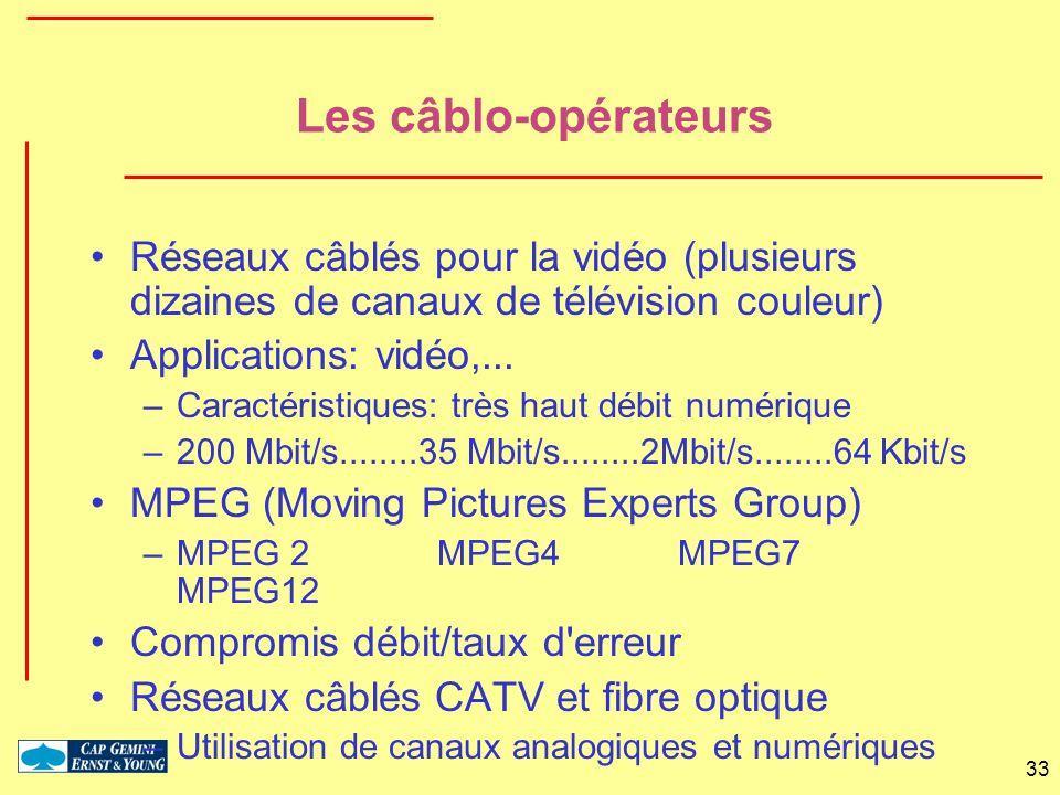 33 Les câblo-opérateurs Réseaux câblés pour la vidéo (plusieurs dizaines de canaux de télévision couleur) Applications: vidéo,... –Caractéristiques: t
