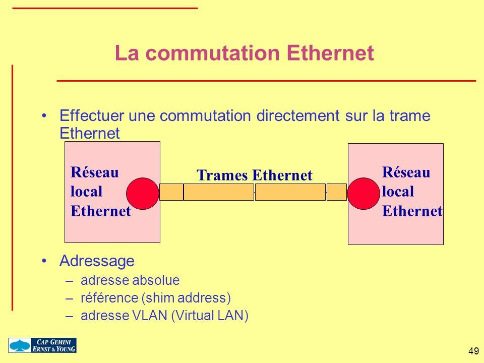 49 Réseau local Ethernet Réseau local Ethernet Trames Ethernet La commutation Ethernet Effectuer une commutation directement sur la trame Ethernet Adr