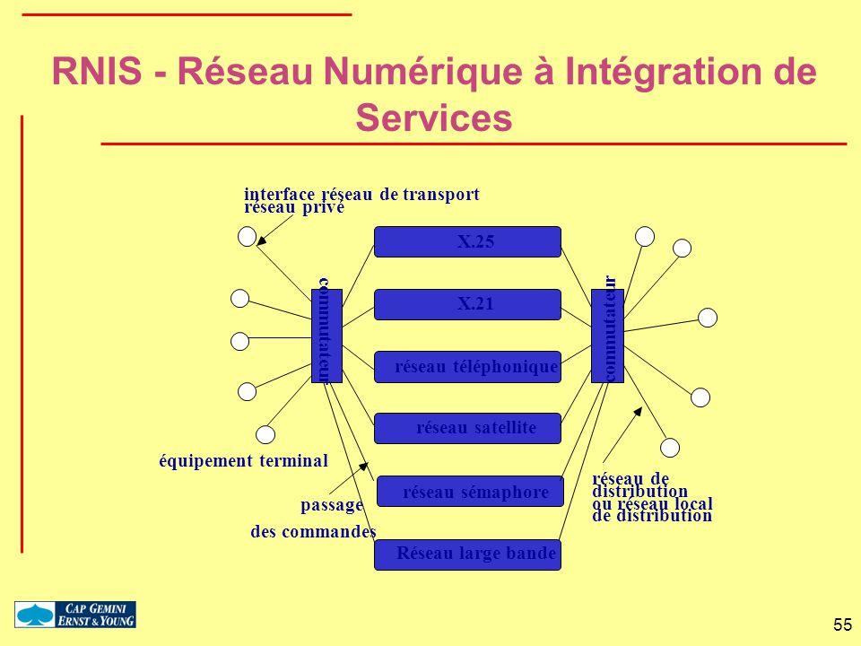 55 X.25 X.21 réseau téléphonique réseau satellite équipement terminal commutateur réseau de distribution ou réseau local de distribution interface rés