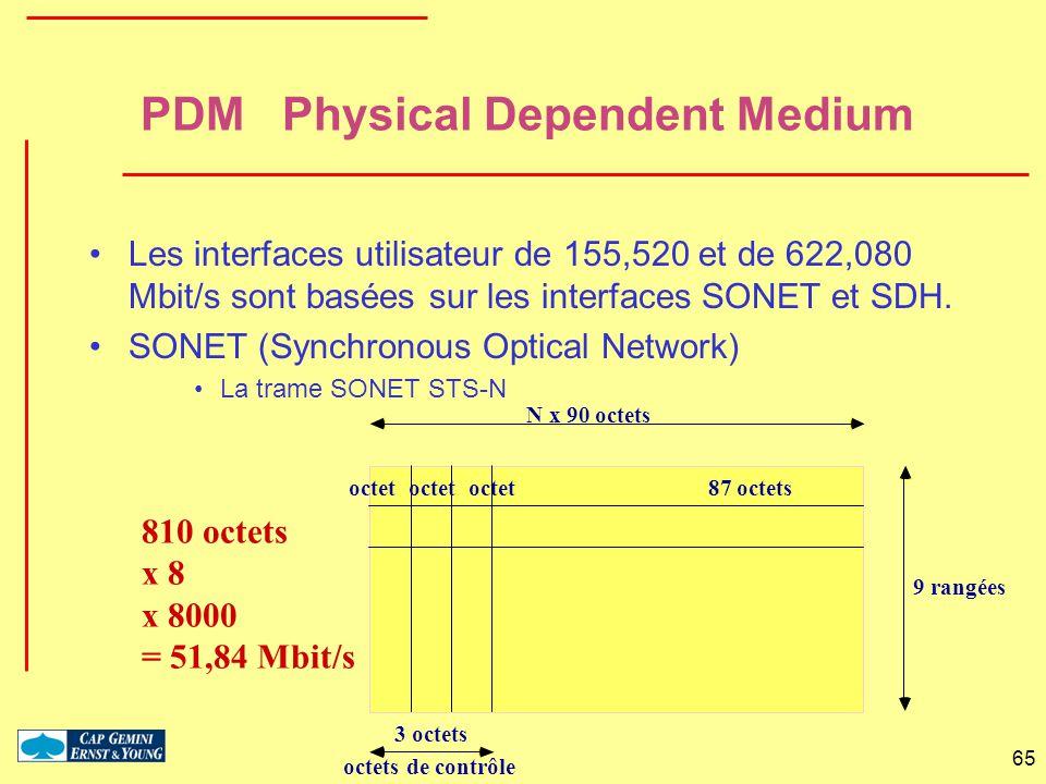 65 N x 90 octets 9 rangées octet octet octet 87 octets octets de contrôle 3 octets 810 octets x 8 x 8000 = 51,84 Mbit/s PDM Physical Dependent Medium