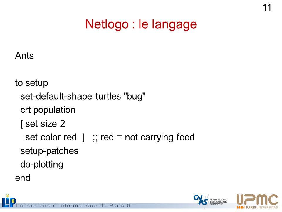 11 Netlogo : le langage Ants to setup set-default-shape turtles bug crt population [ set size 2 set color red ] ;; red = not carrying food setup-patches do-plotting end