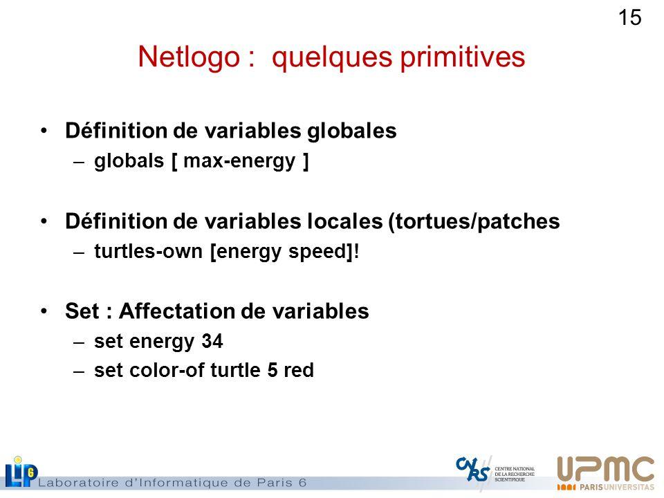 15 Netlogo : quelques primitives Définition de variables globales –globals [ max-energy ] Définition de variables locales (tortues/patches –turtles-own [energy speed].