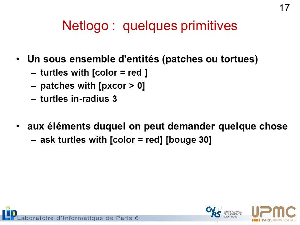 17 Netlogo : quelques primitives Un sous ensemble d entités (patches ou tortues) –turtles with [color = red ] –patches with [pxcor > 0] –turtles in-radius 3 aux éléments duquel on peut demander quelque chose –ask turtles with [color = red] [bouge 30]