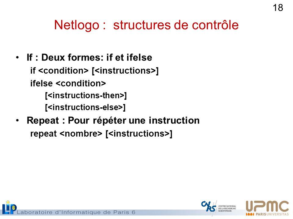 18 Netlogo : structures de contrôle If : Deux formes: if et ifelse if [ ] ifelse [ ] Repeat : Pour répéter une instruction repeat [ ]
