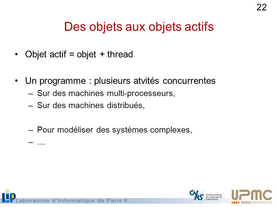 22 Des objets aux objets actifs Objet actif = objet + thread Un programme : plusieurs atvités concurrentes –Sur des machines multi-processeurs, –Sur des machines distribués, –Pour modéliser des systèmes complexes, –…