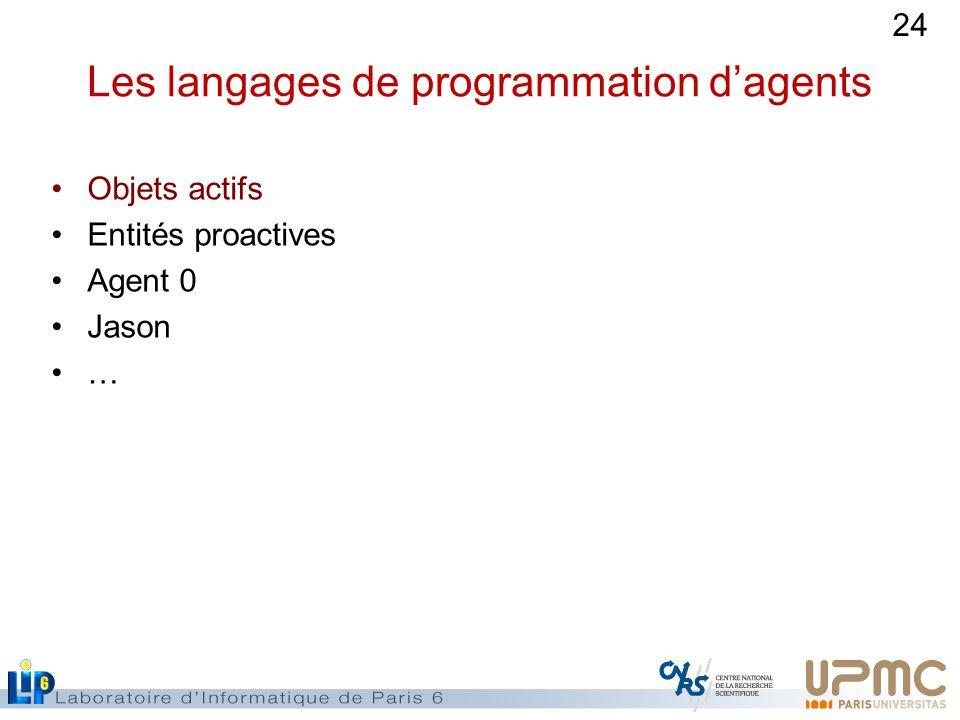 24 Les langages de programmation dagents Objets actifs Entités proactives Agent 0 Jason …