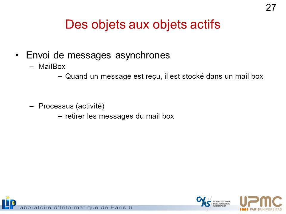 27 Des objets aux objets actifs Envoi de messages asynchrones –MailBox –Quand un message est reçu, il est stocké dans un mail box –Processus (activité) –retirer les messages du mail box
