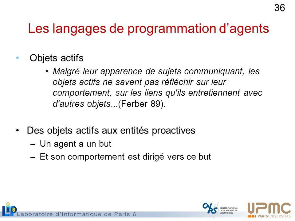 36 Les langages de programmation dagents Objets actifs Malgré leur apparence de sujets communiquant, les objets actifs ne savent pas réfléchir sur leur comportement, sur les liens qu ils entretiennent avec d autres objets...(Ferber 89).